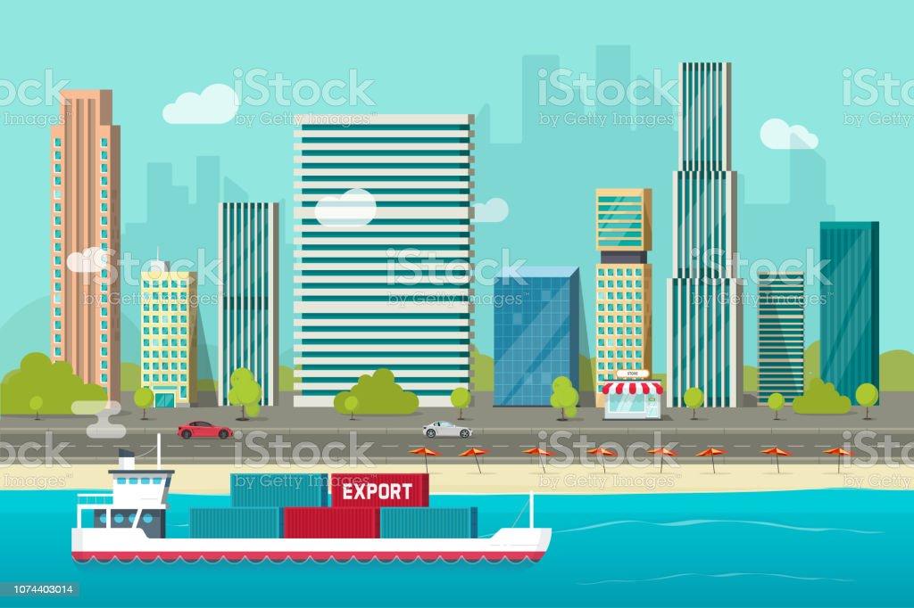 Schwere maritime Container-Schiff Segeln im Ozean oder Seehafen mit Fracht-Container-Vektor, flachen Karton Versand Transport Schiff oder Containerschiff schwebt in der Nähe von Shore Stadthafen – Vektorgrafik