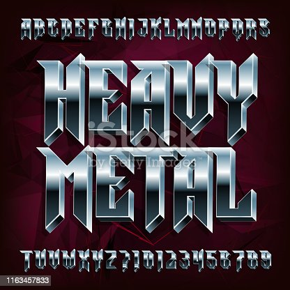 3D Heavy Metal alphabet font. Metal effect letters and numbers. Stock vector typeface for your design.