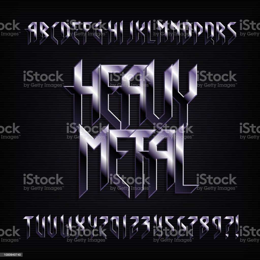 Heavy Metal Alphabet Font Metal Effect Shiny Letters Numbers And