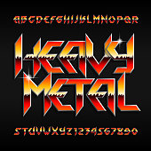 Heavy Metal alphabet font. Shiny letters and numbers in hard rock style. Stock vector typeset for your design.