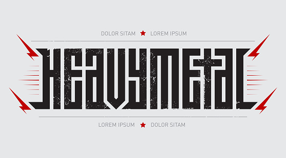 Heavy metal - brutal font for labels, headlines, music posters or t-shirt print. Horizontal label.
