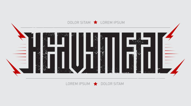 heavy metal - brutal font for labels, headlines, music posters or t-shirt print. horizontal label. - tattoo fonts stock illustrations