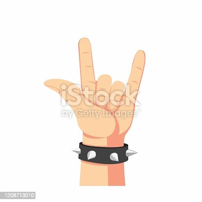 istock heavy metal hand symbol, human hand with spike bracelet in cartoon flat illustration isolated in white background 1208713010