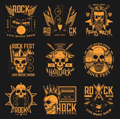 Heavy metal, hard rock music band concert skulls