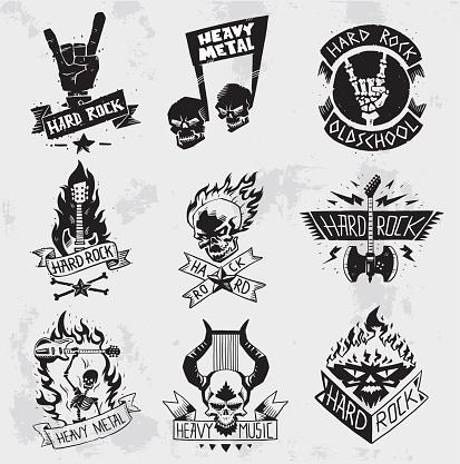 Vintage coal mining emblems, labels, badges, logos. Monochrome style heavy metal rock badges logo classic band typography hardcore. Heavy Metal music symbol rock badges logo. Bikers retro rock label.