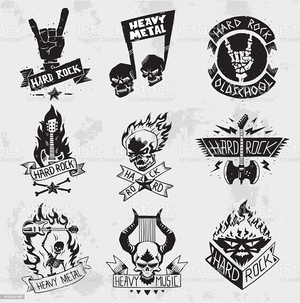Heavy Metal rock badges vector set. - ilustración de arte vectorial