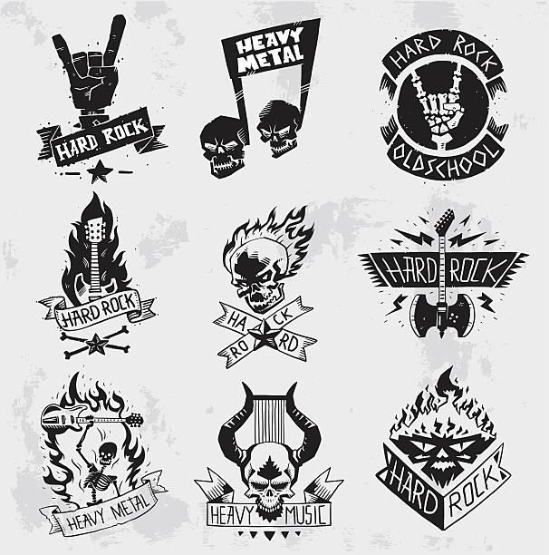heavy metal rock badges vector set. - rock n roll stock illustrations, clip art, cartoons, & icons