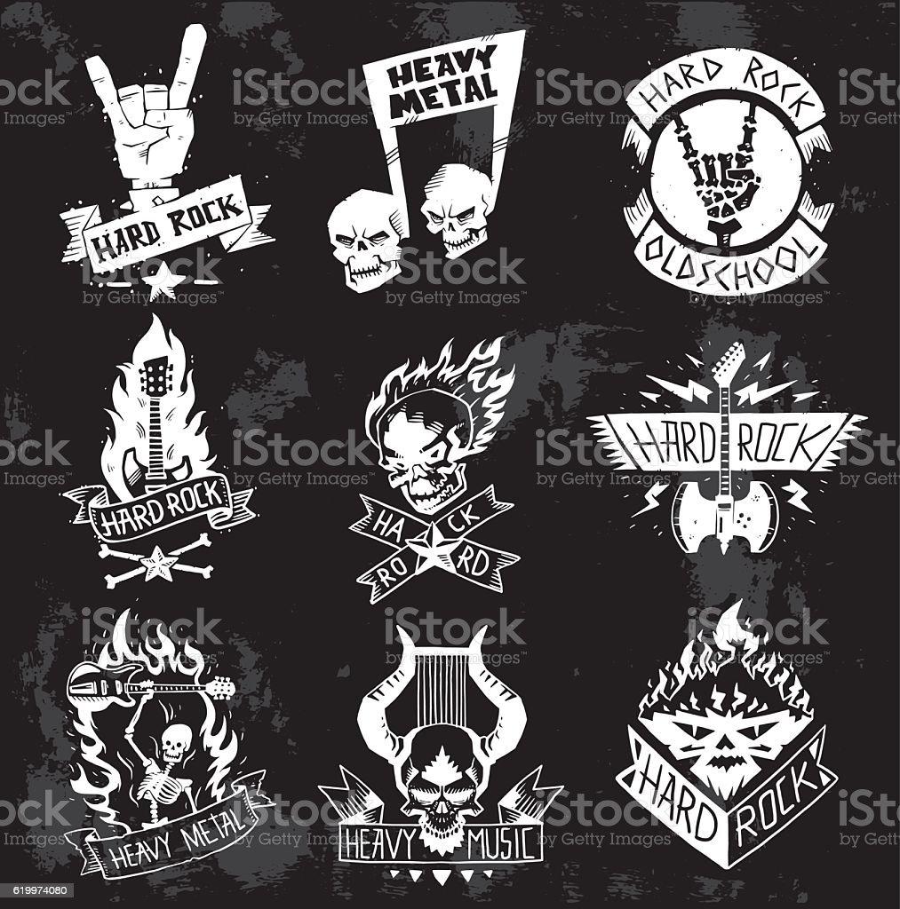 Heavy Metal rock badges vector set. vector art illustration