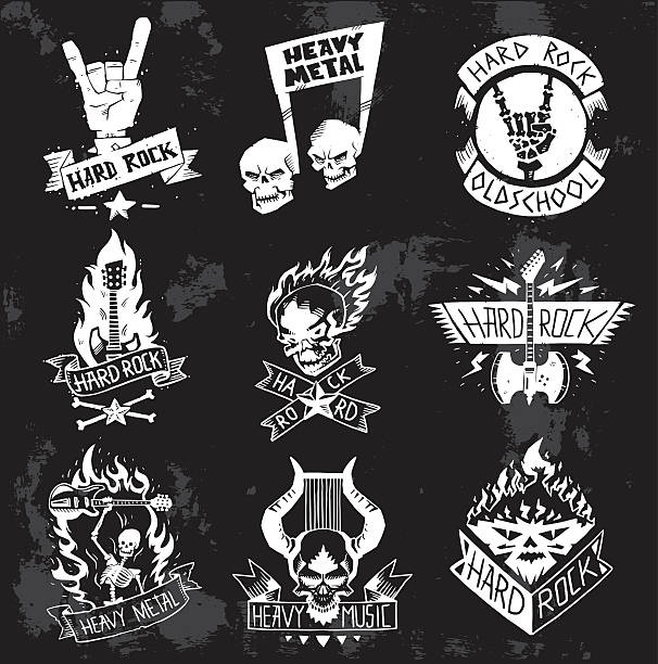 Heavy Metal rock badges vector set. - Illustration vectorielle