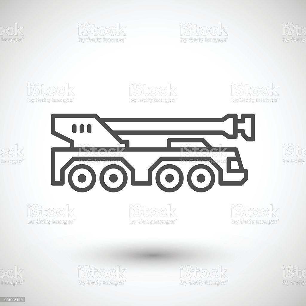 Heavy mobile crane line icon vector art illustration