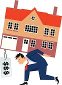 Stressed man carrying a house with a big price tag.