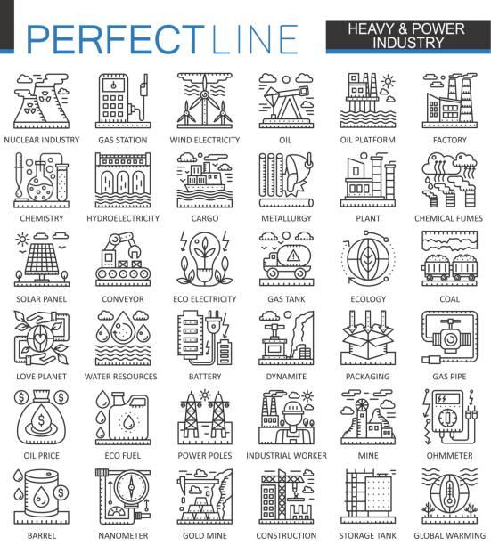 ilustrações, clipart, desenhos animados e ícones de símbolos de conceito contorno da indústria pesada de poder. conjunto de fábrica e ilustrações de estilo linear de traçado moderno de energias renováveis. ícones de linha fina perfeita. - infográficos de site