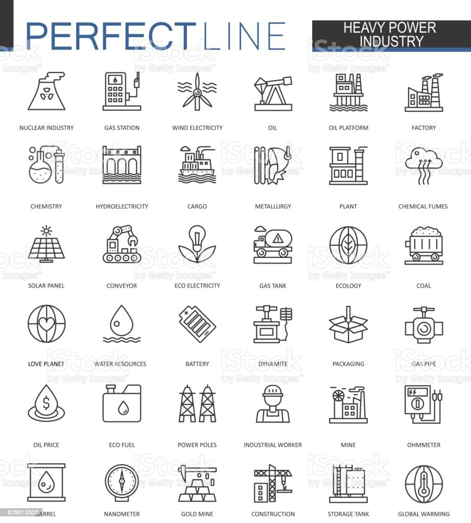 Heavy power industry thin line web icons set. Factory and renewable energy Outline stroke icons design. vector art illustration