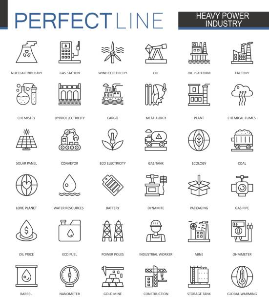 Heavy power industry thin line web icons set. Factory and renewable energy Outline stroke icons design. Heavy power industry thin line web icons set. Factory and renewable energy Outline stroke icons design power station stock illustrations