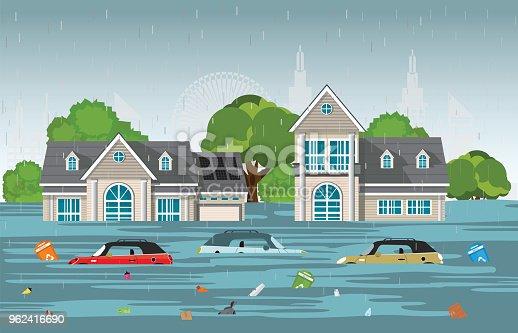 istock Heavy rain drops and city flood in modern village. 962416690