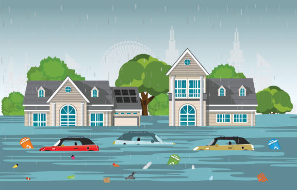 Heavy rain drops and city flood in modern village. Heavy rain drops and city flood in modern village with cars and garbage floating in the water,vector illustration. damaged stock illustrations