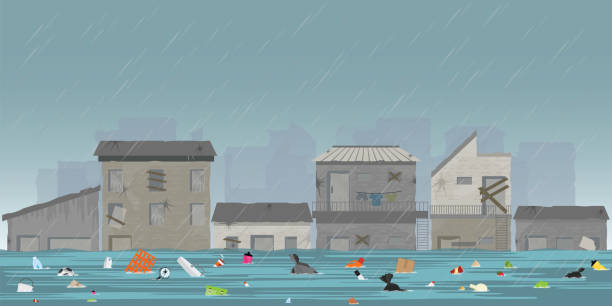 heavy rain drops and city flood in slum city with garbage floating in the water. - ущерб окружающей среде stock illustrations
