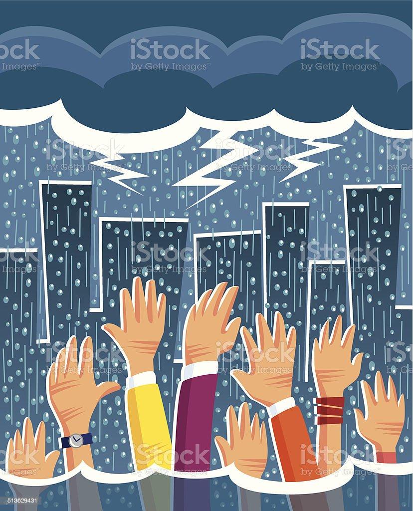 Heavy Rain vector art illustration