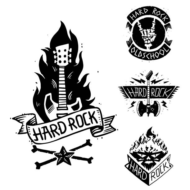 heavy rock music vector badge vintage label with punk skull symbol hard rock-n-roll sound sticker emblem illustration - rock n roll stock illustrations, clip art, cartoons, & icons