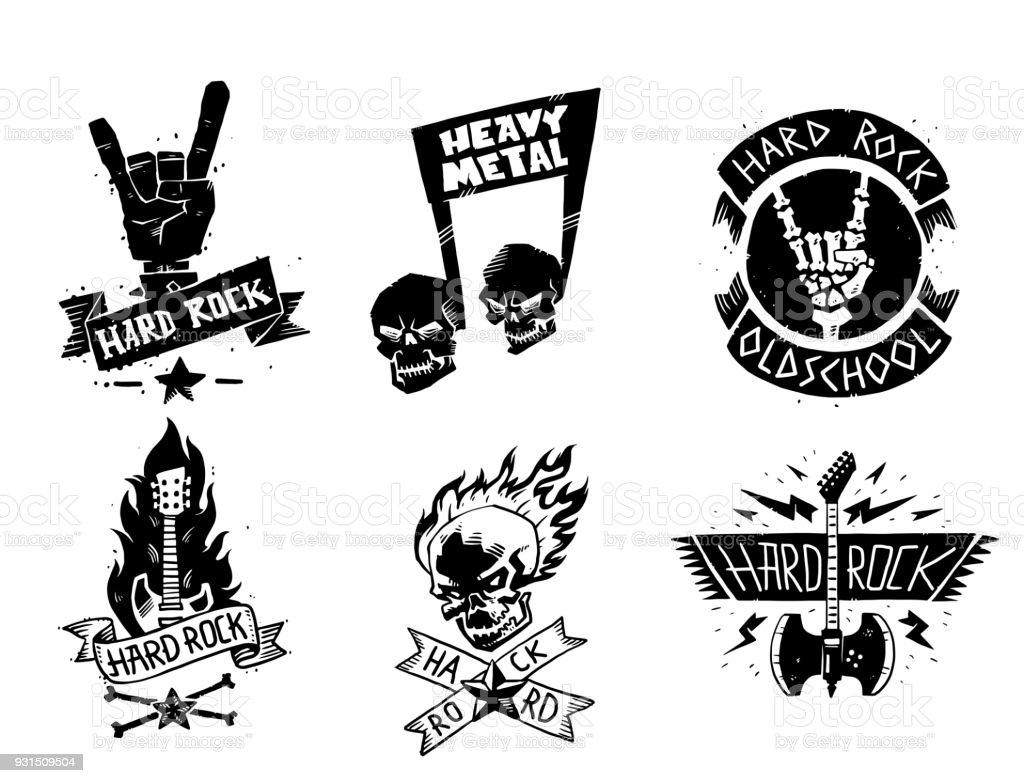 Heavy rock music vector badge vintage label with punk skull symbol hard rock-n-roll sound sticker emblem illustration vector art illustration