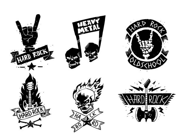 Heavy rock music vector badge vintage label with punk skull symbol hard rock-n-roll sound sticker emblem illustration Heavy rock music vector badge vintage label with punk skull symbol hard rock-n-roll sound sticker emblem illustration. Creative recording hipster classic template. rock music stock illustrations