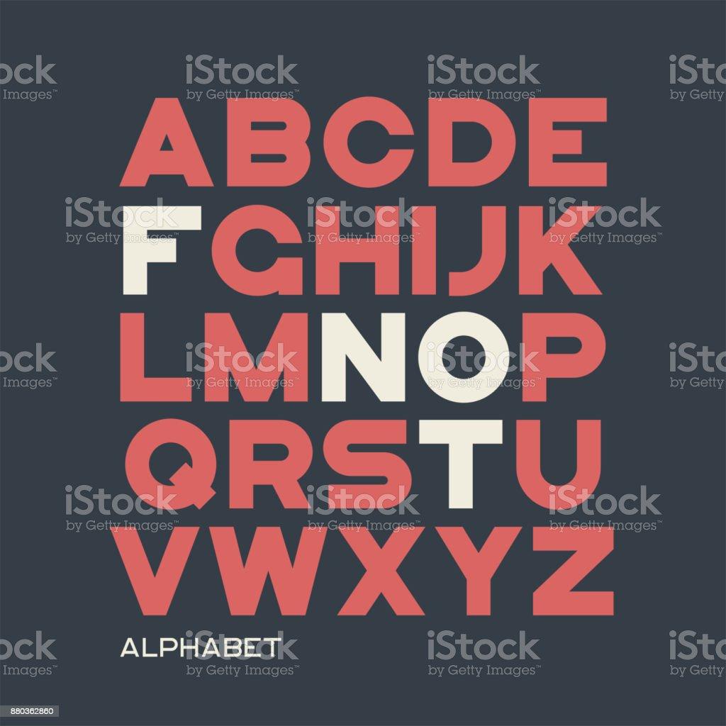 Heavy sans serif typeface design. Vector alphabet, letters, font vector art illustration