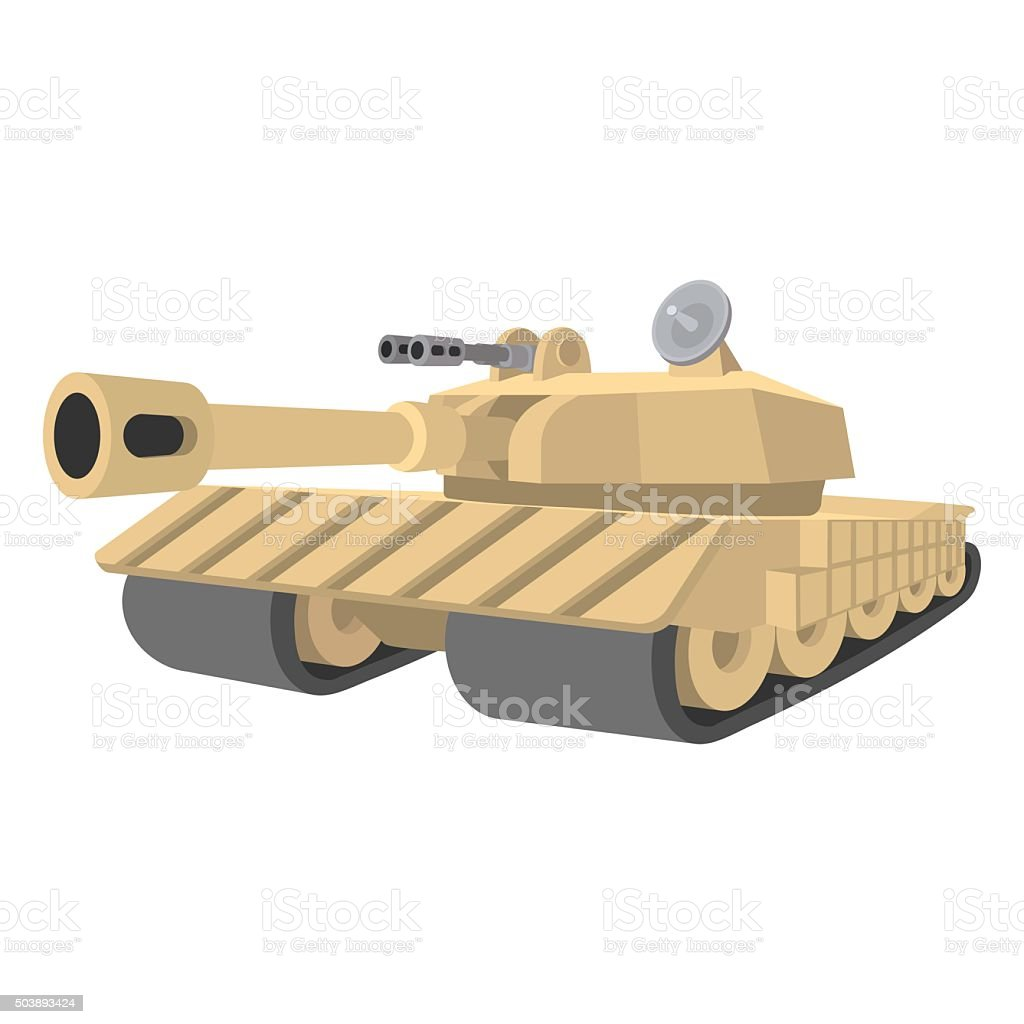 Heavy tank cartoon icon vector art illustration