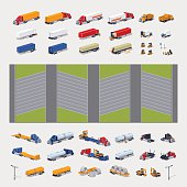 Heavy trucks parking lot constructor. Build your own design