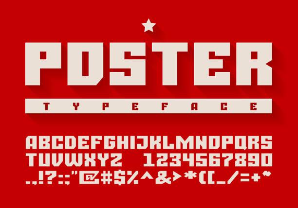 ilustraciones, imágenes clip art, dibujos animados e iconos de stock de tipografía pesada. letras mayúsculas, números y símbolos - rusia