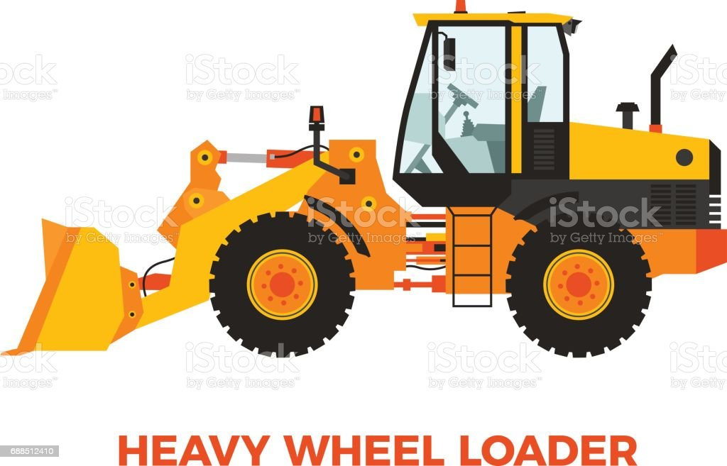 Heavy Wheel Loader Construction Vehicle on a white background vector art illustration