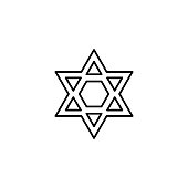 istock Hebrew, hexagram, Judaism icon. Simple line, outline vector religion icons for ui and ux, website or mobile application 1205639695