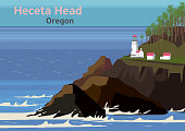 Heceta Head Light, lighthouse on the Oregon Coast in the United States, vector illustration
