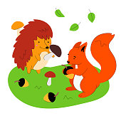 Hedgehog and squirrel - flat design style illustration with cartoon characters on white background. A colorful composition with forest animals picking mushrooms, acorns on the meadow. Nature concept