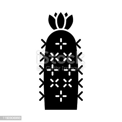 Hedgehog cactus glyph icon. Echinopsis. Sea-urchin cactus. South America native desert plant. Silhouette symbol. Negative space. Vector isolated illustration