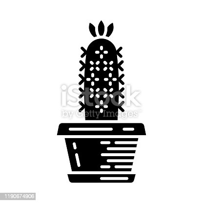 Hedgehog cactus in pot glyph icon. Echinopsis. Sea-urchin cactus in garden. South America native desert plant. Silhouette symbol. Negative space. Vector isolated illustration