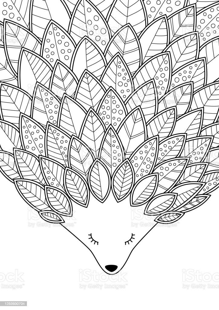 Hedgehog Doodle Coloring Book Page Antistress For Adult Tangle Style Stock  Illustration - Download Image Now - IStock