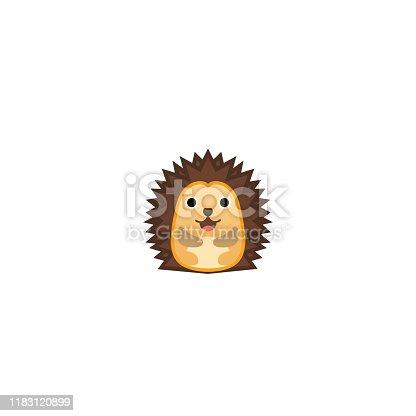 istock Hedgehog Isolated Realistic Vector Icon. Hedgehog Illustration Emoji, Emoticon, Sticker Icon 1183120899