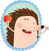 Hedgehog portrait eating Apple
