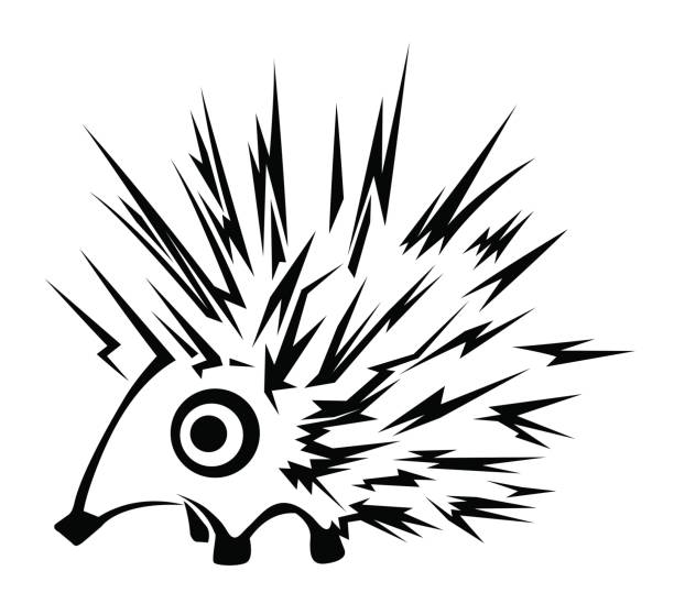 Hedgehog Stencil Hedgehog character stencil black, vector illustration, horizontal, isolated bristle animal part stock illustrations