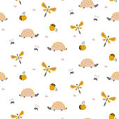 Hedgehogs and dragonflies autumn forest cute pattern on white seamless background. Cartoon style beautiful woods theme.