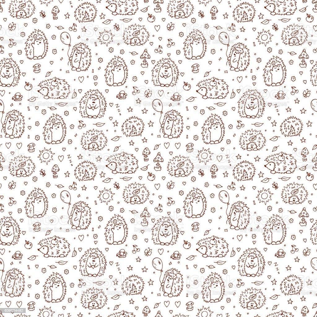 Vetores De Hedgehogs Seamless Pattern Wallpaper For Children Vector Illustration E Mais Imagens De Animal Istock