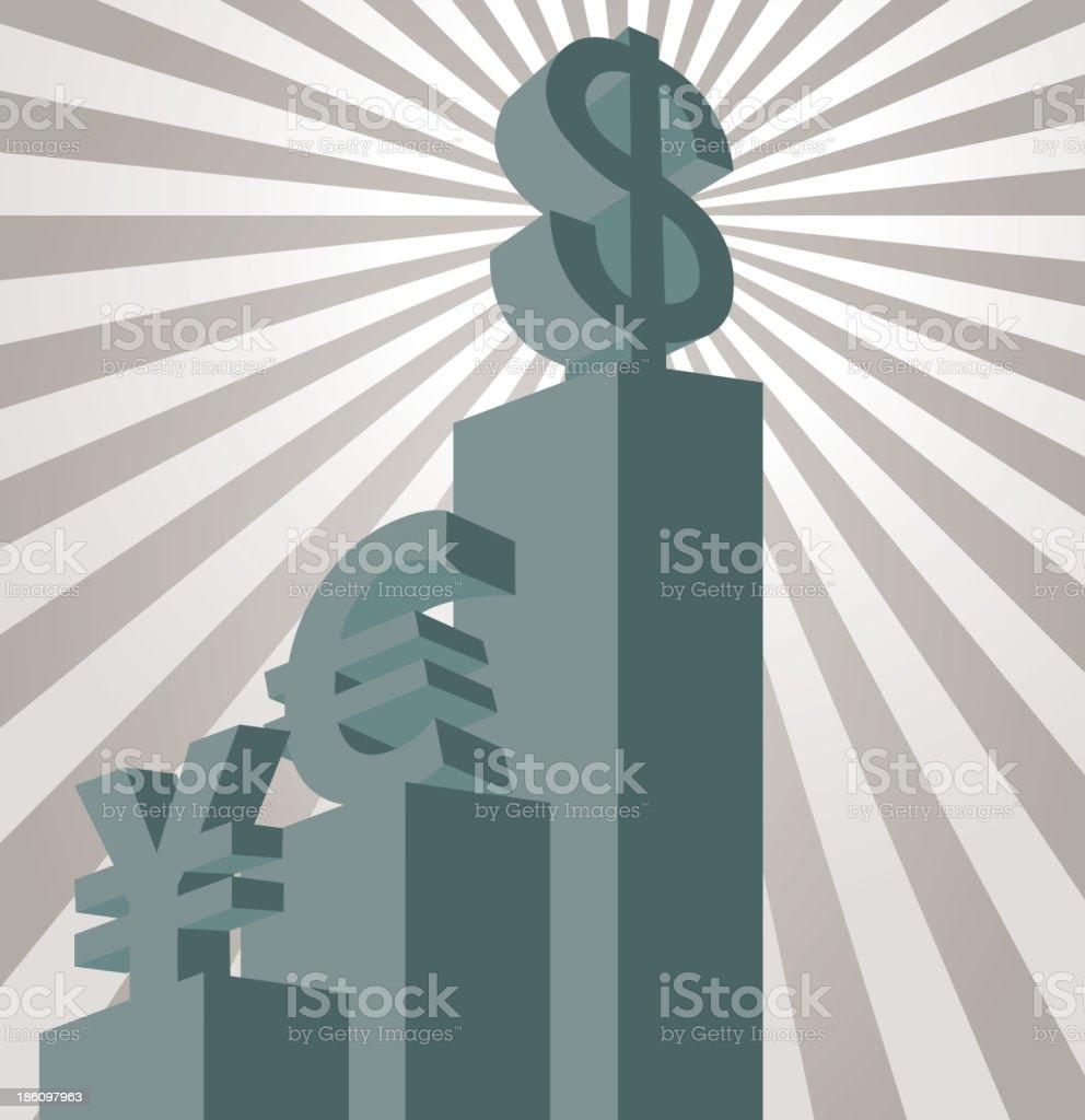 Hegemony of the dollar royalty-free stock vector art