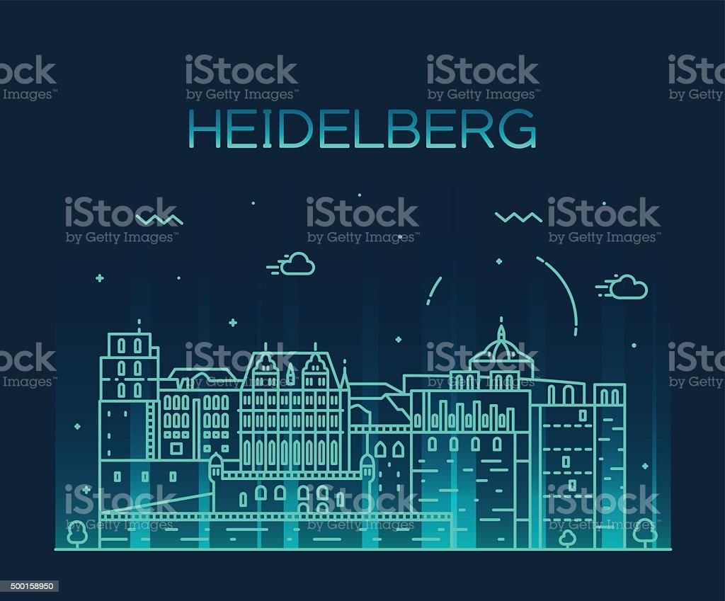 Heidelberg skyline vector illustration linear vector art illustration