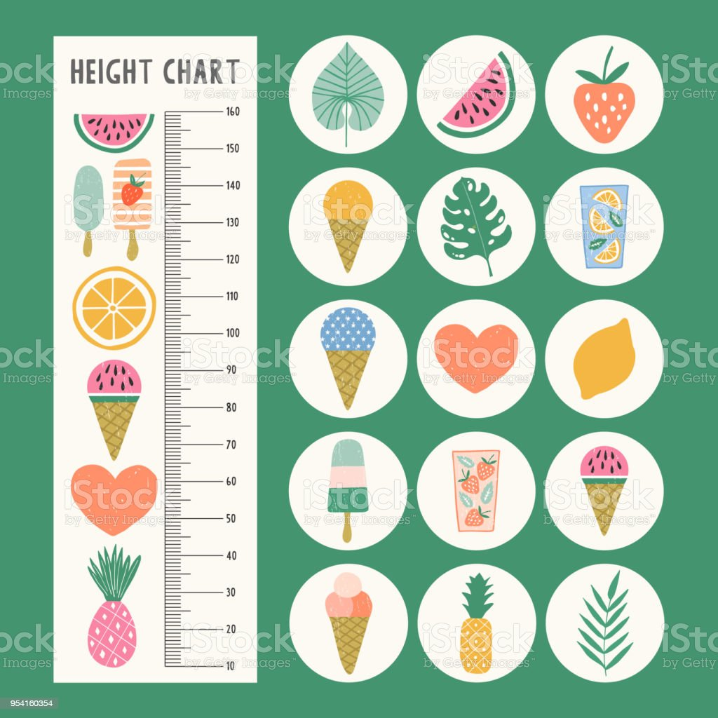 Height Chart For Children Stock Vector Art & More Images of Baby ...