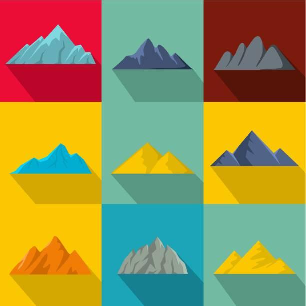 height icons set, flat style - плато stock illustrations