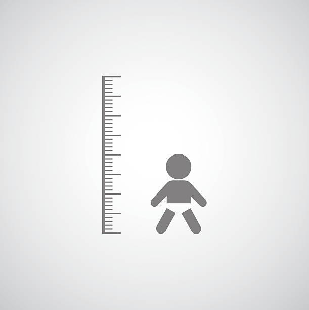 height measurement little boy symbol height measurement  little boy symbol on gray background garden center stock illustrations