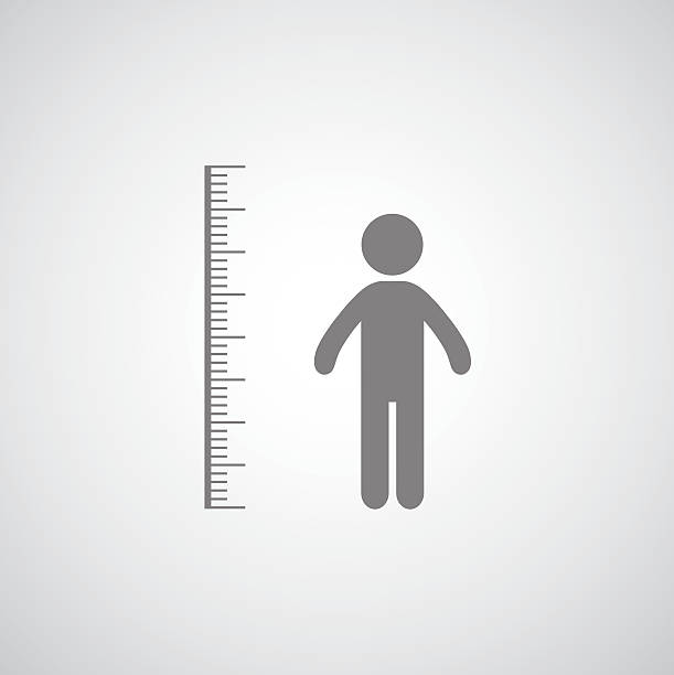 height measurement height measurement symbol on gray background instrument of measurement stock illustrations