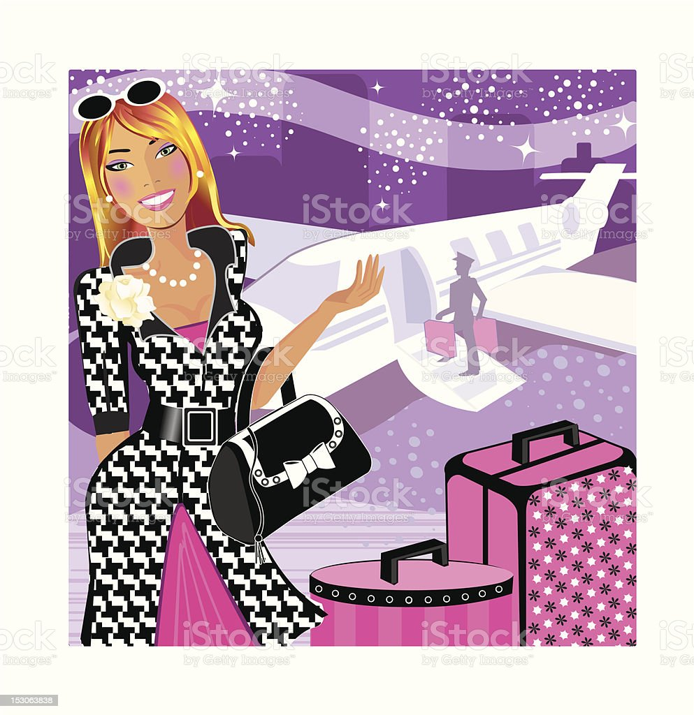 Heiress Jetsetting royalty-free stock vector art