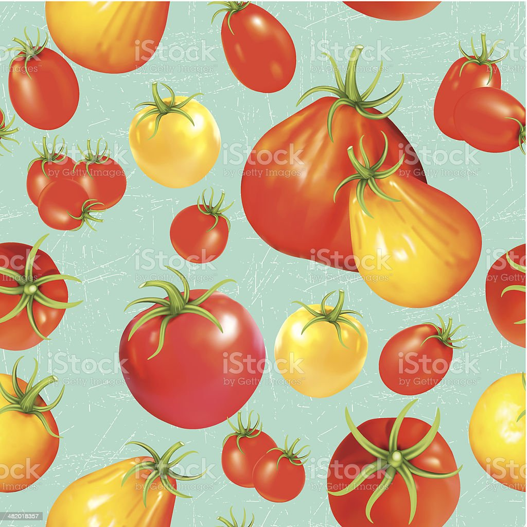 Heirloom Tomatoes Seamless Repeating Pattern vector art illustration