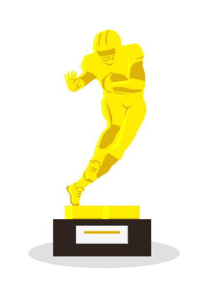 heisman memorial trophy. gold-belohnung. vektor - gerechtigkeitsliga stock-grafiken, -clipart, -cartoons und -symbole